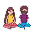 couple sitting characters on white background vector image