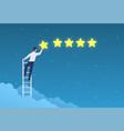 customer rating businessman stands on ladder vector image