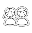 cute little couple isolated icon vector image vector image