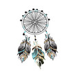 dream catcher decorated with feathers and beads vector image vector image