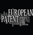 european patent office text background word cloud vector image vector image