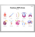 fantasy rpg icons flat pack vector image