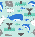 flat design of whale hammerhead shark dolphin vector image