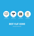 flat icon computer set of pc technology vector image vector image
