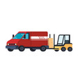 forklift and van delivery service vector image