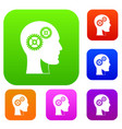 gears in human head set color collection vector image vector image