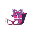 gift box present with mask carnival vector image vector image