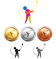 Golf player and three medals vector image vector image
