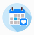 happy valentines day calendar icon vector image