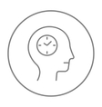 Human head with clock line icon vector image vector image