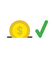 icon concept of dollar coin into moneybox hole vector image