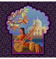 Indian girl playing on sitar near Taj Mahal vector image