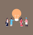 indian people group brainstorming new idea light vector image vector image