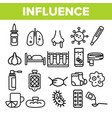 influenza linear icons set thin pictogram vector image vector image