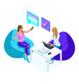 isometrics of young girls while working one worki vector image vector image