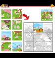 jigsaw puzzles with farm animals group vector image vector image