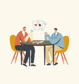 male characters playing cards sitting at table vector image