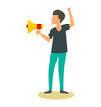 man speak in megaphone icon flat style vector image vector image