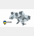 map ukraine with divisions isolated on white vector image vector image