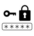password security icon on white background flat vector image vector image