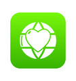 planet heart icon green vector image vector image