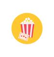 Popcorn box and ticket Cinema Movie round icon in vector image vector image