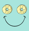 positive smiley with slice of pineapple vector image vector image