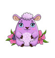 pretty little purple sheep sitting amongst flowers vector image