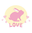 rabbit silhouette from back with some organic vector image vector image