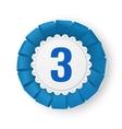 Realistic blue fabric award ribbon badge vector image