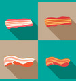 set of smoked bacon and fresh bacon vector image