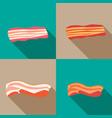 set smoked bacon and fresh bacon vector image vector image
