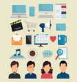 set social media with apps technology vector image