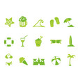 simple green color beach icons set vector image