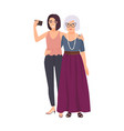 smiling grandmother and granddaughter standing vector image vector image