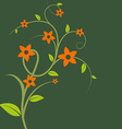 Stem with leaves and flowers vector image vector image