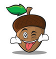 tongue out with wink acorn cartoon character style vector image