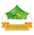 tourist camping tent house camouflage isolated on vector image vector image