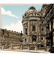Vintage Hand Drawn View of Opera in Paris vector image vector image