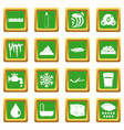 water icons set green vector image