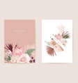 watercolor orchid pampas grass protea floral vector image vector image