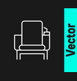 white line cinema chair icon isolated on black vector image vector image
