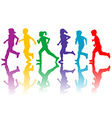Colorful silhouettes of children running vector image