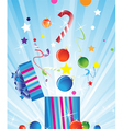Gift box and Christmas decorations vector image