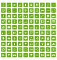 100 programmer icons set grunge green vector image vector image