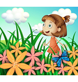A girl at the garden with butterfly and flowers vector image
