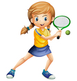 A pretty lady playing tennis vector image vector image