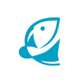 abstract fish symbol icon on white vector image vector image