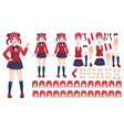 anime girls character kit cartoon school girl vector image vector image