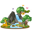 background scene wildlife waterfall vector image vector image
